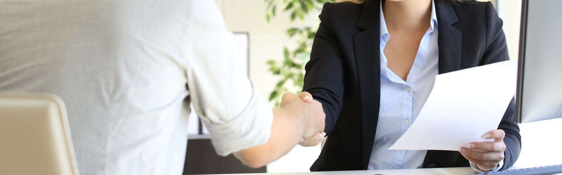 Handshake after customer buys house